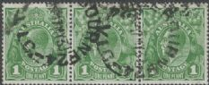 SG 86 ACSC 80(2)la., 80(2)m. KGV Head 1d Green strip of 3 (AHSUP/456)
